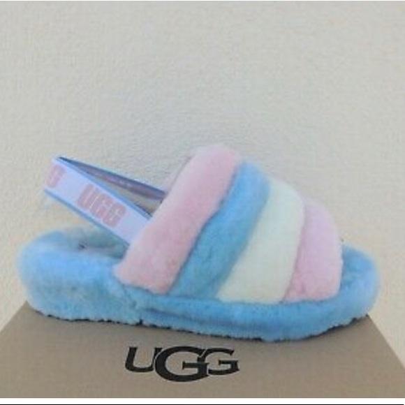Pink White And Blue Ugg Slides
